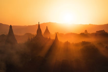 Sunset Over The Ancient Temples Of Bagan, Myanmar (Burma).