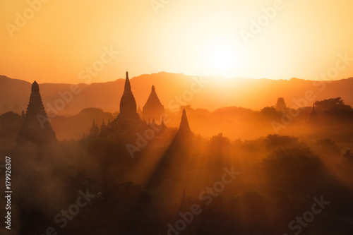 Sunset over the ancient temples of Bagan, Myanmar (Burma). Canvas Print