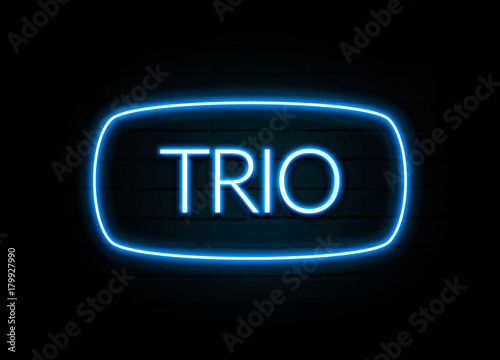 Fotografering  Trio  - colorful Neon Sign on brickwall