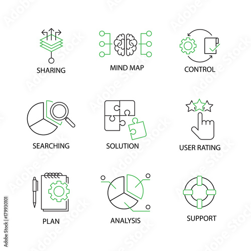 Modern Flat Thin Line Icon Set In Concept Of Business Strategy With