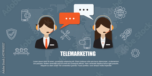 Male and Female call center avatar icons with a faceless wearing headsets with colorful speech bubbles conceptual of Telemarketing.