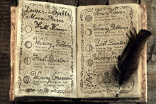 Open Book With Lunar Magic Spells And Quill. Vintage Background With Moon Phases And Hand Writing Text On Old Pages