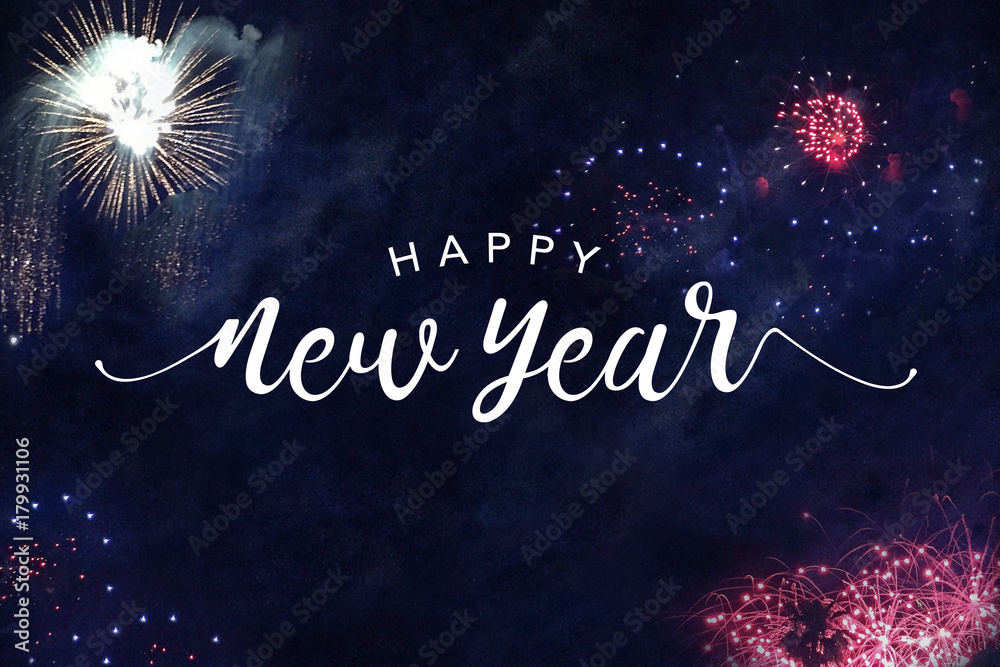 Fototapety, obrazy: Happy New Year Typography with Fireworks in Night Sky