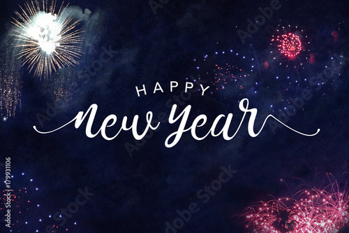 Photo  Happy New Year Typography with Fireworks in Night Sky