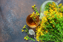 Hypericum.Glass Cup With Herba...