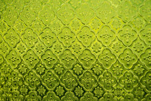 Green Stained Glass Window Background.