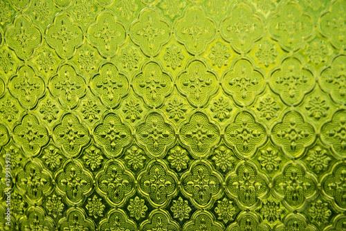 Fototapeta  Green stained glass window background. obraz