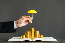 金貨と傘,保護