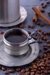 Coffee espresso in vintage cup