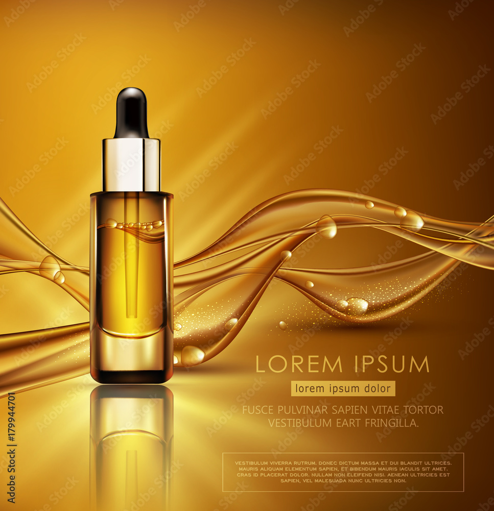 Fototapeta Vector glass vial with professional facial serum on  the background of waves and bubbles. Template cosmetic products with oil Q10. Element for design, advertising, promotion of cosmetic