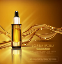 Vector Glass Vial With Professional Facial Serum On  The Background Of Waves And Bubbles. Template Cosmetic Products With Oil Q10. Element For Design, Advertising, Promotion Of Cosmetic