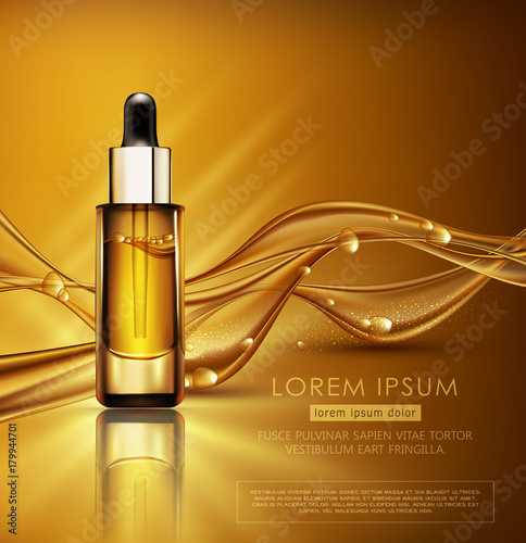 Fototapeta Vector glass vial with professional facial serum on  the background of waves and bubbles. Template cosmetic products with oil Q10. Element for design, advertising, promotion of cosmetic obraz