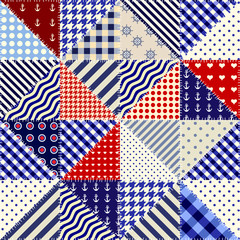 Fototapeta Seamless background pattern. Imitation of a retro patchwork of triangles in nautical style..