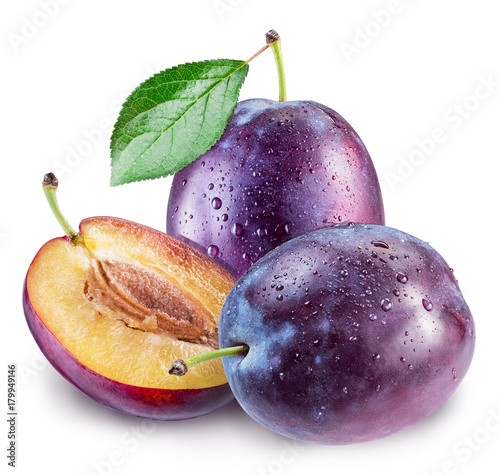 Plums with water drops. File contains clipping path.