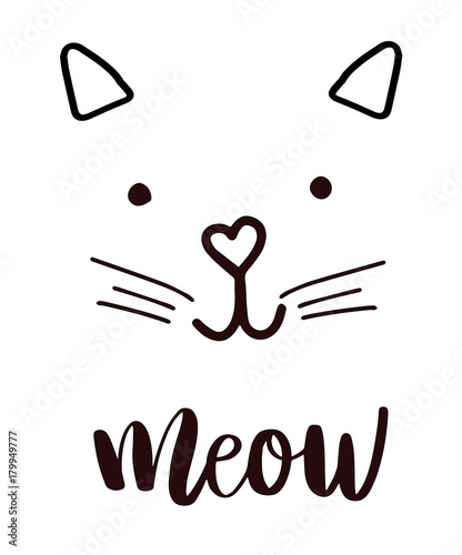 Photo head cat silhouette black icon, lettering meow whiskers vector.