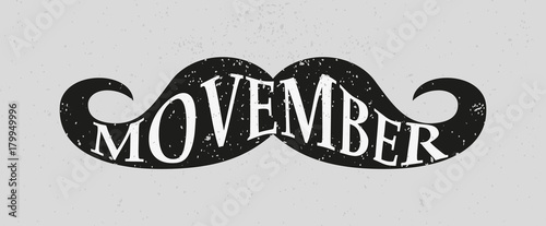 Photo  Movember or November men health awareness month mustache symbol