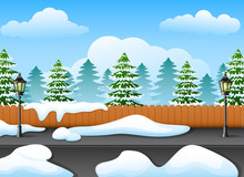 Winter Forest Landscape With F...