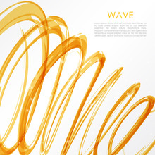 Glowing Orange Spiral On White Background. Nature Colors Abstract Light Hi Tech Concept