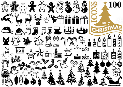 Obraz Set of Modern Flat Christmas Icons for Design Projects - Black and White Illustrations, Vector - fototapety do salonu
