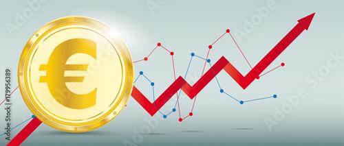 Tablou Canvas Golden Euro Coin Growth Chart