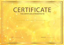 Certificate, Diploma Of Completion Template (abstract Design Template, Gold Background) With Stars And Golden Frame