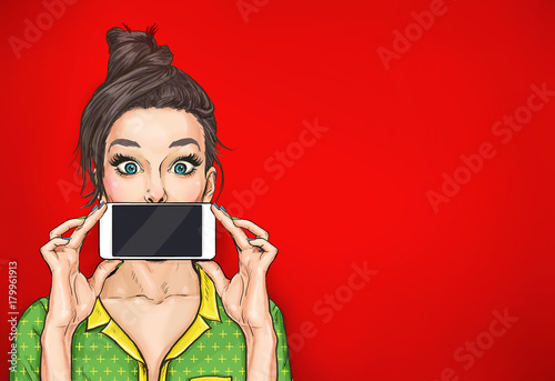 Girl with phone in the hand in comic style. Woman with smartphone. Digital advertisement. Woman with phone. Girl with phone. Girl showing the mobile phone. wow, omg, sale, news, cool, pin up, pop, art