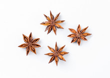Anise Star  On White Backgroun...