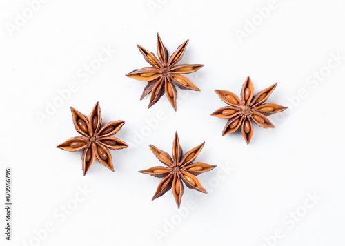 Photo Anise star  on white background