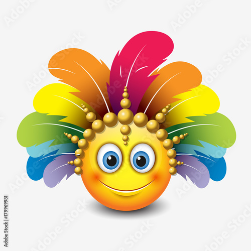 Cute emoticon isolated on white background with carnival headdress motive Tablou Canvas