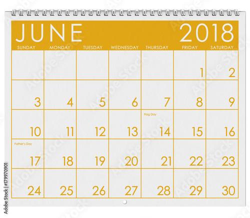 2018 Calendar Month Of June With Flag Day Kaufen Sie Dieses Foto