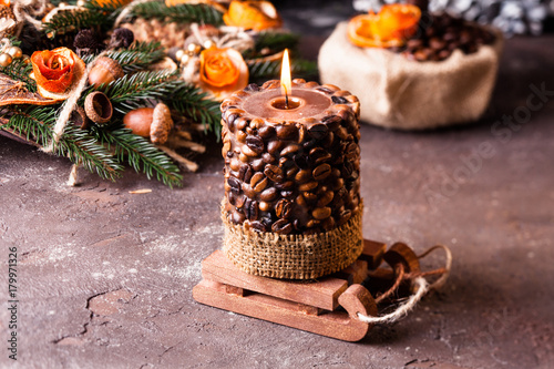 Fototapety, obrazy: Christmas aromatic candle