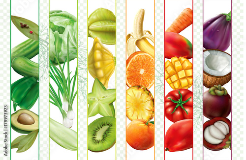Fruits and vegetables mix strips © dracozlat