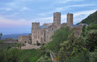Evening landscapes of Spain - mountains, roads and medieval monastery Sant Pere de Rodes