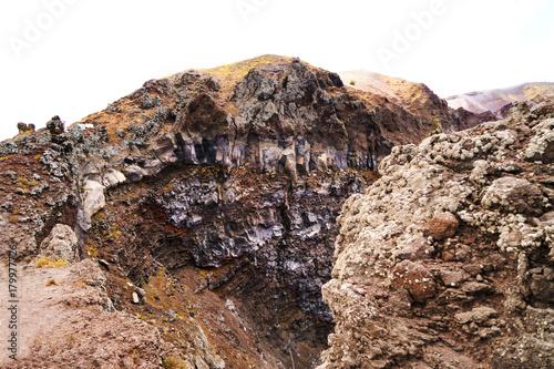 Tuinposter Vulkaan Volcano Vesuvius crater. Volcanic rocks and textures.