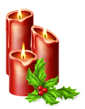 Christmas Candles And Holly