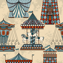 Seamless Pattern With Carousel And Tent. Funfair Theme. Vintage Hand Drawn Vector Illustration