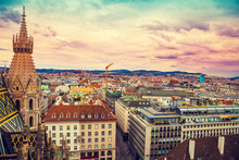 Aerial View  Of Vienna From The North Tower Of St. Stephen's Cathedral With Evening Colorful Sky, Austria, Europe
