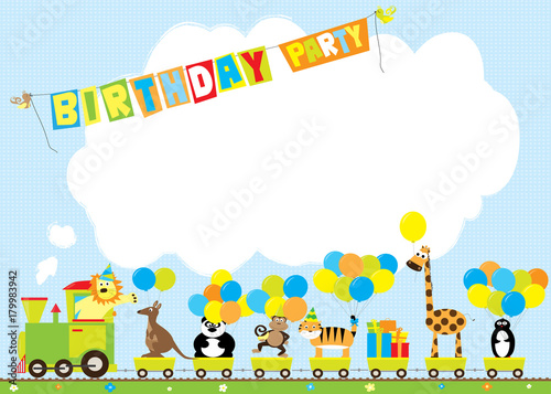 cartoon train with wild animals and balloons / birthday party invitation