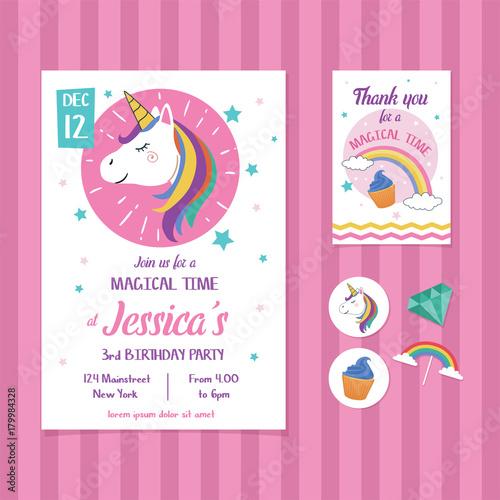 Fototapeta Unicorn Birthday Invitation Card Template With Unicorn Head Illustration