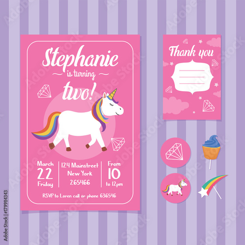 Fototapeta Unicorn Birthday Invitation Card Template