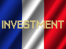 Investment Text Euro Coins On Rippled Flag French Illustration