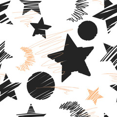 Tapeta Seamless background of stars and moons. Hand drawn illustration.