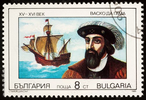 Portuguese navigator Vasco da Gama on postage stamp Wallpaper Mural