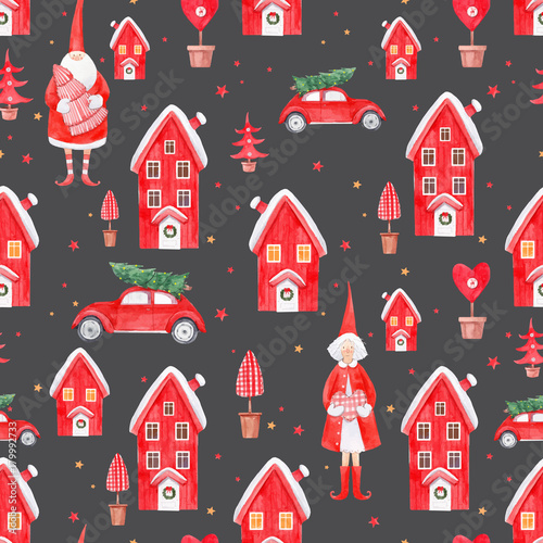 Cotton fabric Nice watercolor christmas vector pattern