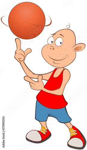 Papiers peints Chambre bébé Illustration of Cute Little Boy. Basketball player