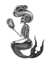 Art Design Mermaid Skull. Hand...