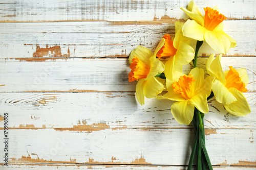 Deurstickers Narcis Beautiful spring yellow narcissus on white wooden background, Space for text,