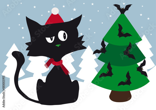 lonely cynical black cat with red scarf and red santa cap celebrating christmas using halloween scary - Black Cat Christmas Tree Decoration