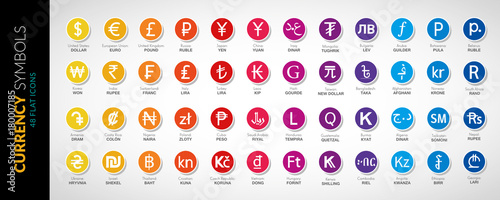 Photo Currency icons vector flat illustration 48