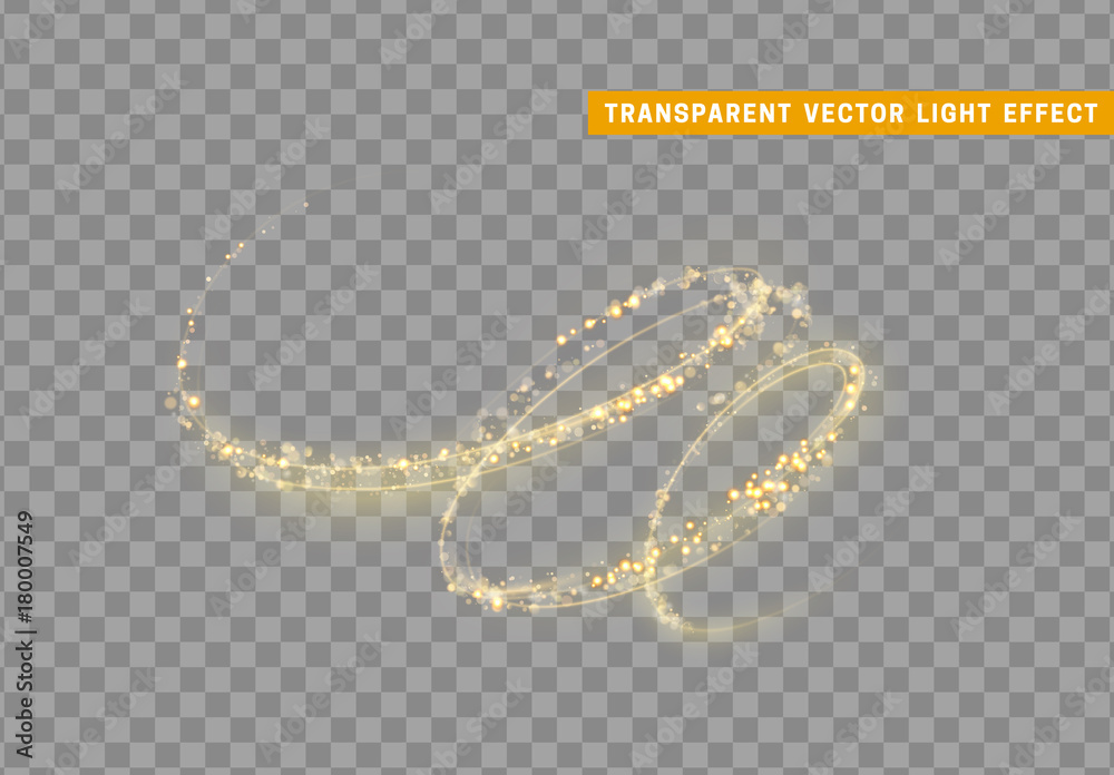 Fototapety, obrazy: Magic light effect. Stardust golden glitter. Sparkle star dust vector illustration.